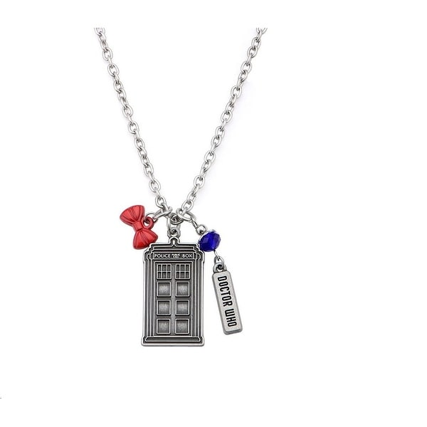 Doctor Who Stainless Steel Multi-Charm TARDIS Necklace - multi