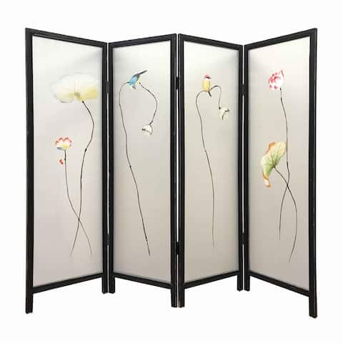 4 Panel Wooden Screen with Hand painted Fabric Design, Brown & Beige