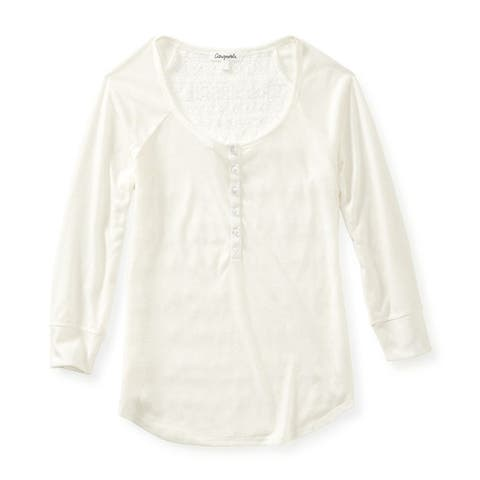 Aeropostale Womens Sheer Sleeve Lace Back Henley Shirt