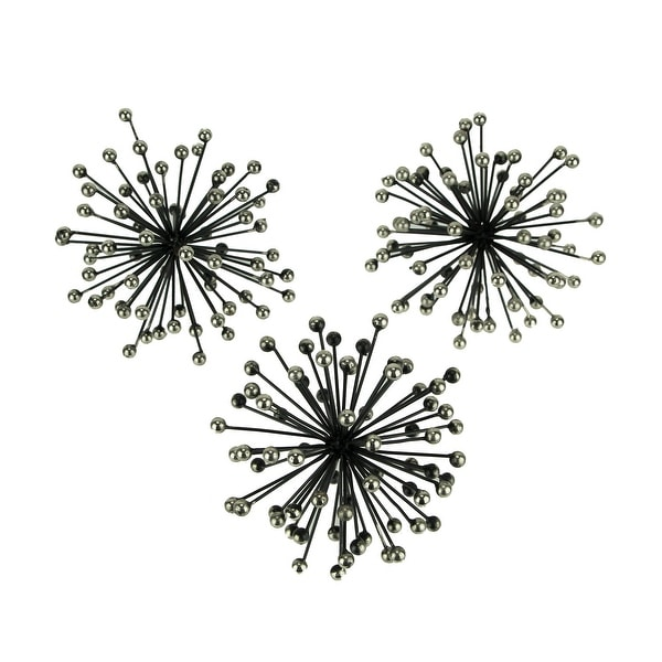 Black and Silver Metal Bursting Star Spiked Decorative Table Orbs Set of 3 - 5.75 X 5.75 X 5.75 inches