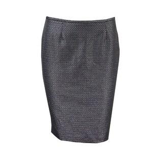 Calvin Klein Women's Petite Metallic Jacquard Pencil Skirt - Black/silver