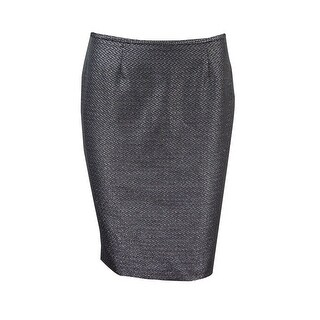 Calvin Klein Women's Petite Metallic Jacquard Pencil Skirt - Black/Silver