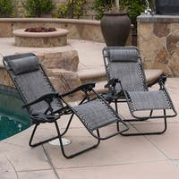 BELLEZE Zero Anti Gravity Reclining Gray Chairs Set of 2 Tray Cup Holder Mobile Device Slot Holder Outdoor