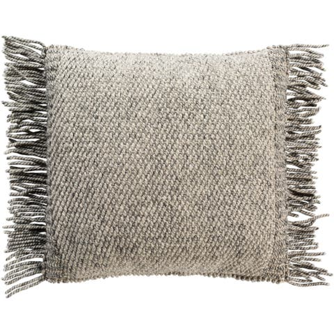 Fiora Boho Fringe Wool 18-inch Throw Down or Poly Filled Throw Pillow