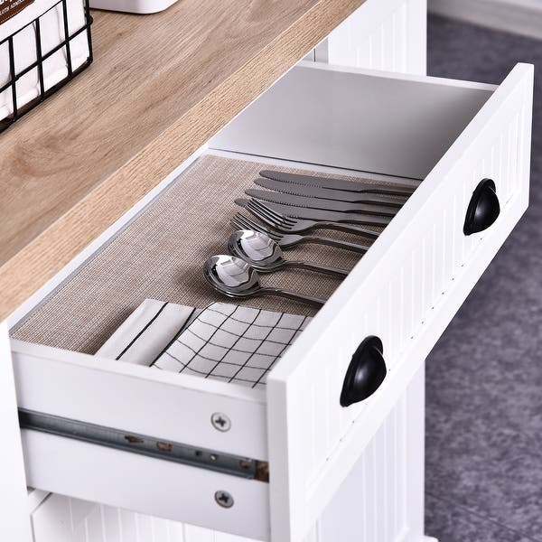 Homcom Fluted Style Wooden Kitchen Island Storage Cabinet With Drawer Open Shelving And Interior Shelving Overstock 30586396