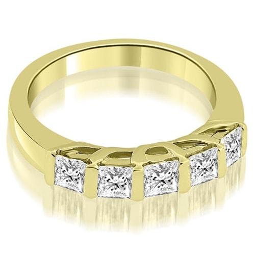 0.70 cttw. 14K Yellow Gold Bar Set Princess Cut Diamond Wedding Band