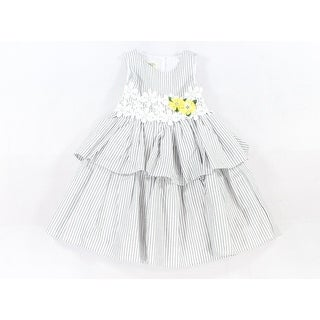 Laura Ashley NEW Gray Girls Size 4 Stripe Crochet-Trim Tiered Dress