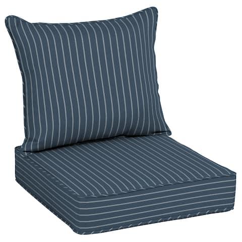 "Arden Selections Acrylic Indigo Stripe Outdoor Deep Seat Cushion Set - 25"" L x 25"" W x 7.5"" H"