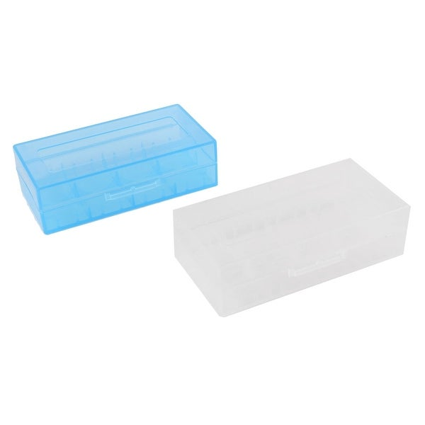 Unique Bargains 2pcs Portable Plastic Battery Holder Case Box Clear Blue for 18670 Batteries
