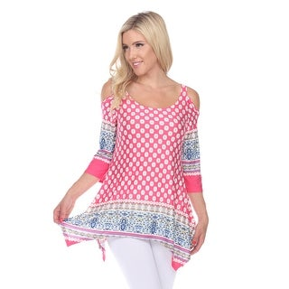 Link to Printed Cold Shoulder Tunic - Pink/White Similar Items in Tops