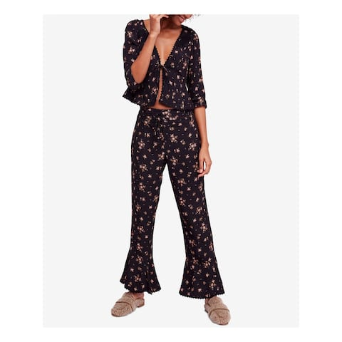 FREE PEOPLE Womens Black Floral Flare Evening Pants Size L