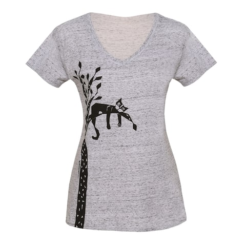 Marushka Handprints Women's Cat Tree T-Shirt - Short Sleeve Gray V-Neck Tee