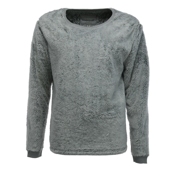 Boxercraft Women's Plus Size Fuzzy Fleece Crew Sweatshirt - Grey. Opens flyout.