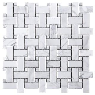 "TileGen. 1"" x 2"" Basket Weave White Carrarra Marble Mosaic Tile in White Floor and Wall Tile (10 sheets/9.6sqft.)"