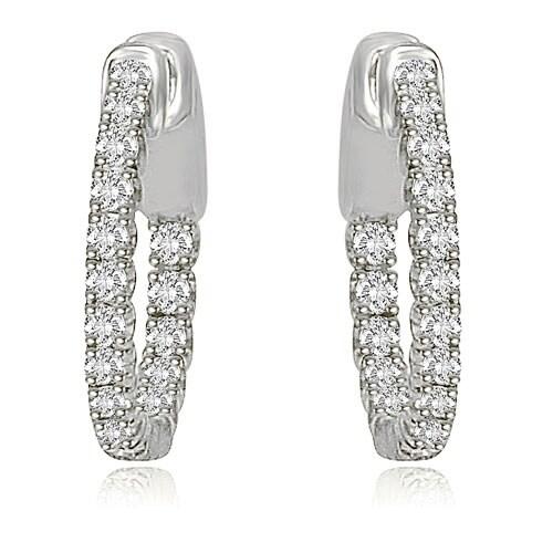 1.02 cttw. 14K White Gold Round Cut Diamond Hoop Earrings - White H-I