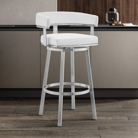 """Cohen 30"""" Faux Leather and Metal Swivel Bar Stool - Bar Height - 29-32 in."""