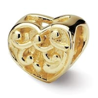 14k Reflections Scroll Heart Bead (4mm Diameter Hole)