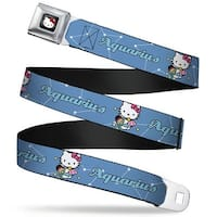 Hello Kitty W Red Bow Full Color Black Hello Kitty Zodiac Aquarius Webbing Seatbelt Belt
