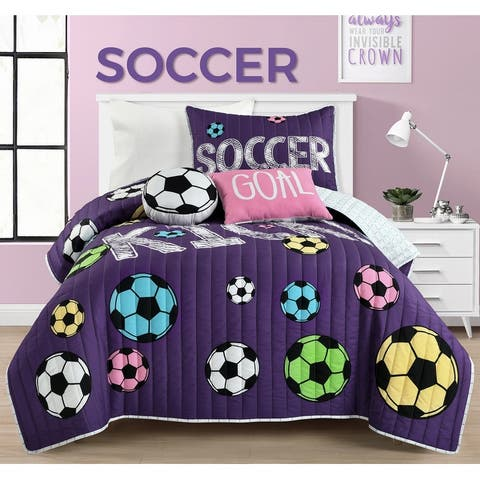 Lush Decor Girls Soccer Kick Quilt Set