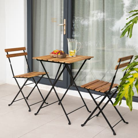 COSIEST 3-Piece Patio Furniture Bistro Set, Folding Chairs, Card Table, Outdoor Oil-Sealed Teakwood, Premium No-Rust Steel