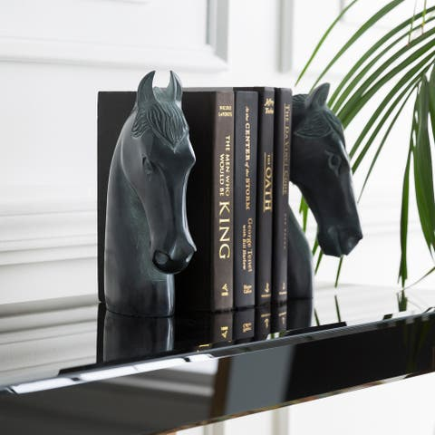 "Cheval Modern Stone Horse Book End Set (2 Pieces) - 7.5"" x 2.25"" x 10"",7.5"" x 2.25"" x 10"""