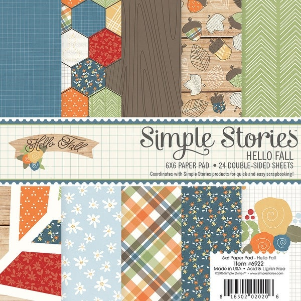 """Simple Stories Double-Sided Paper Pad 6""""X6"""" 24/Pkg-Hello Fall, 12 Designs/2 Each"""