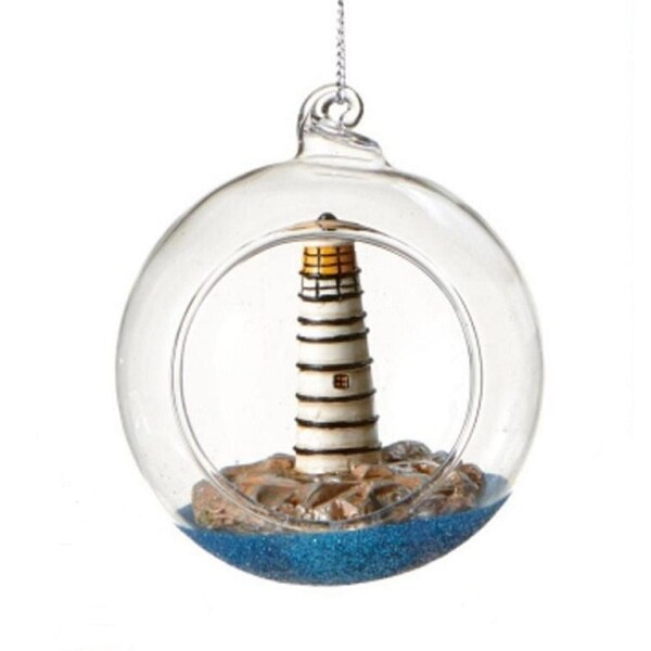 "Seaside Escape Black and White Lighthouse Globe Shadow Box Nautical Glass Christmas Ornament 3"""
