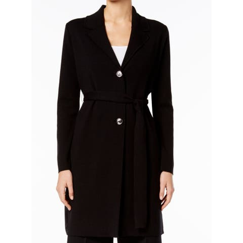 Nine West Black Womens Size XL Belted Topper Three Button Jacket