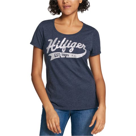 Tommy Hilfiger Womens Glitter Embellished T-Shirt