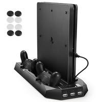 AGPtek Vertical Stand for PS4 Slim / PS4 Cooling Fan Dual Controller Charging Station 3 Extra USB Port
