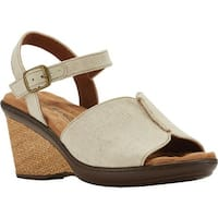 Walking Cradles Women's Lucca Quarter Strap Wedge Sandal Natural Fabric