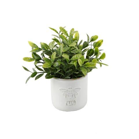 "Bee Kind Ceramic Tea Leaf + Bee Happy EUC in 3.75"" IVORY,Set of 2"