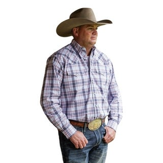 Miller Ranch Western Shirt Men Long Sleeve Plaid White Blue DTW2201065