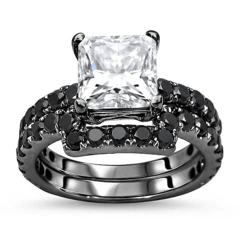 14k Black Rhodium Plated White Gold 2.0ct Princess Cut Moissanite 1 & 4/5ct Black Diamond Engagement Ring Bridal Set