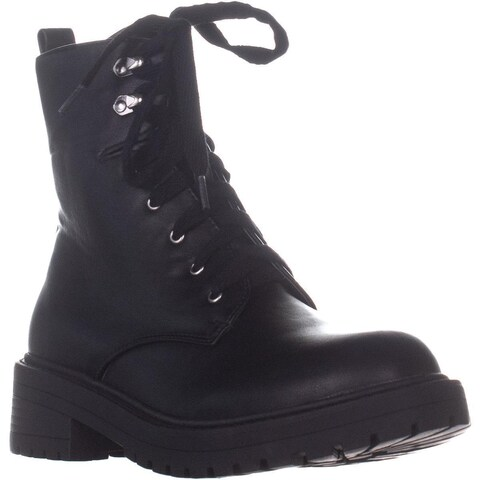madden girl Alicee Lace Up Combat Boots, Black Paris