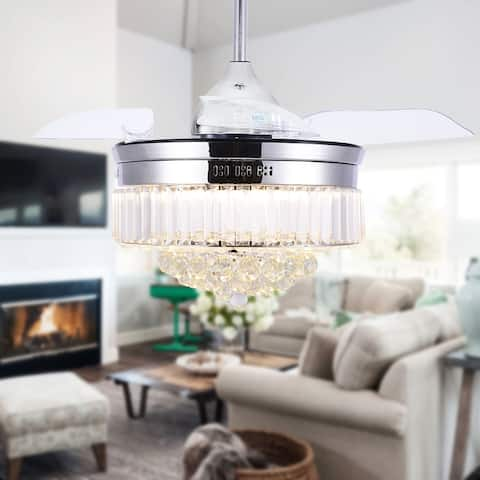 BellaDepot Crystal Bladeless Ceiling Fan, Drum chandelier fan, Remote - 42 inches - 42 inches