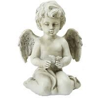 """6.5"""" Gray Sitting Cherub Angel Decorative Outdoor Garden Statue - N/A"""