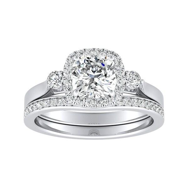 Auriya 1/2ct Cushion-cut Moissanite and Diamond Engagement Ring Set 14k Gold 2/5ct TDW. Opens flyout.