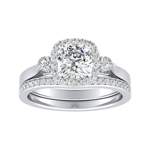 Auriya 1/2ct Cushion-cut Moissanite and Diamond Engagement Ring Set 14k Gold 2/5ct TDW