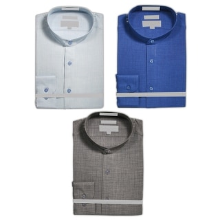 Link to Men's Pattern Fabric Banded Collarless Collar Slim Fit Dress Shirt Similar Items in Shirts