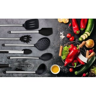 Kitchenvare 8 Piece Stainless Steel Silicone Kitchen Cooking Utensil Set-Black - Black - LARGE