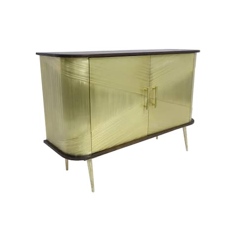 Porter Designs Louis Transitional Handcrafted Solid Wood Cabinet, Gold