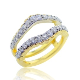 3/4cttw Diamond Ring Guard Solitaire Jacket 10K Gold And White Gold Tone 13mm Wide By MidwestJewellery