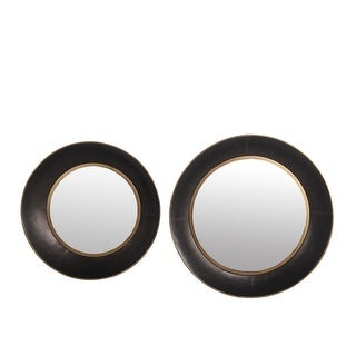 Shop Metal Round Frame Wall Mirror With Gold Trim Set Of 2 Black And Silver On Sale Overstock 31251559