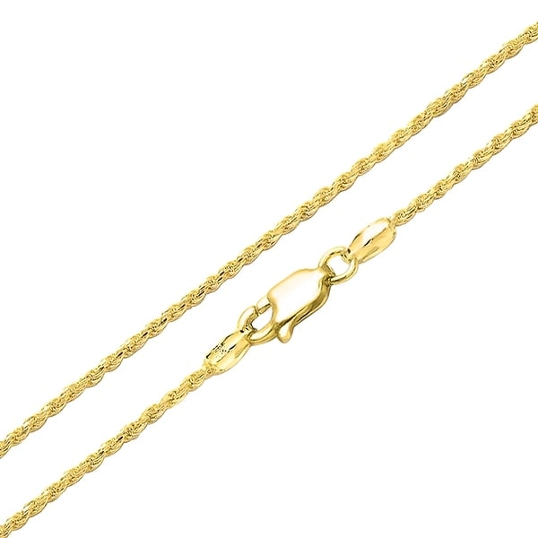 9bf240fd8 Shop Rope Link Chain 2.5mm 040 Gauge For Women Necklace 14K Gold Plated 925  Sterling Silver Made In Italy 16 20 24 Inch - Free Shipping On Orders Over  $45 ...