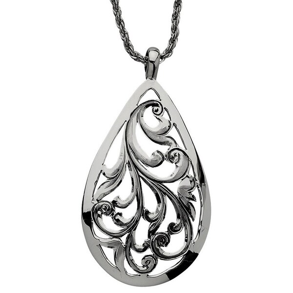 """Vogt Western Women Necklace Cut Filigree Teardrop 18"""" Silver 016-329"""