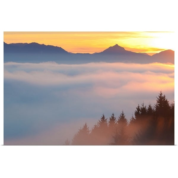 """Highfog in the Bavarian forest, autumn"" Poster Print"