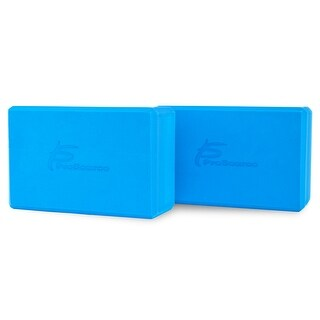 "ProsourceFit Set of 2 Foam Wedge Yoga Blocks Stretching Assistant High Density Large 9x6x4 - Blue - 9"" x 6"" x 4"""