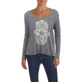 Project Social T Womens Casual Top Scoop Neck Long Sleeve - m