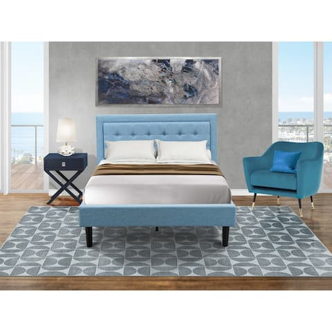 Fannin Full Size Bedroom Set with Wood Bed Frame and a Mid Century Modern Nightstand - Denim Blue Linen Fabric